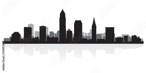 Foto  Cleveland city skyline silhouette