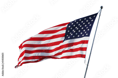 Photo  American flag isolated on white with clipping path