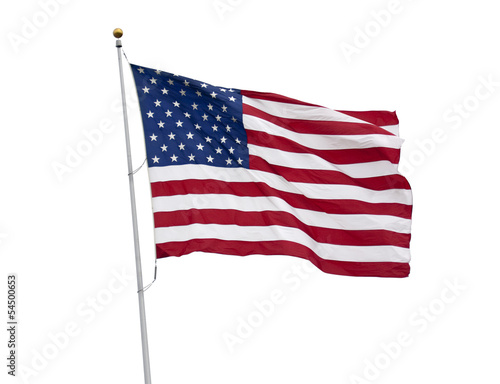 Fotografie, Obraz  American flag isolated on white with clipping path
