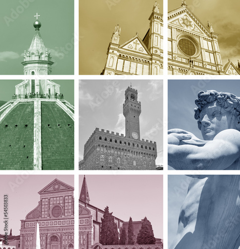 Foto op Canvas Doodle Collage of landmarks, Florence, Italy