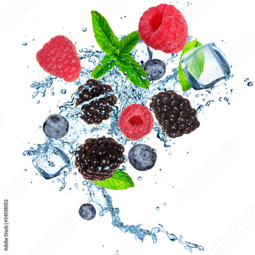 Poster Dans la glace Fruits in ice cube