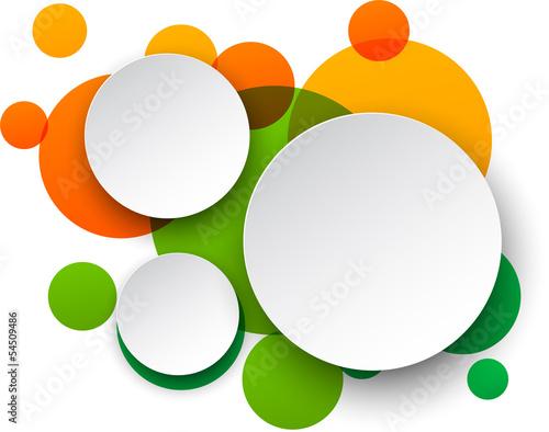 Naklejka Paper white round speech bubbles.