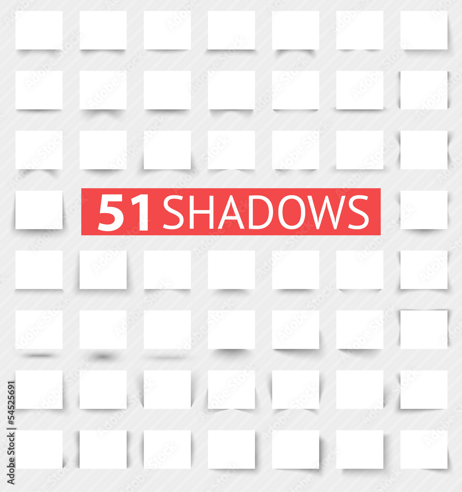 Fototapeta Set of transparent realistic shadow effects