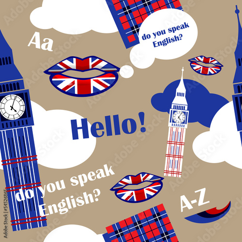Poster Doodle english language background