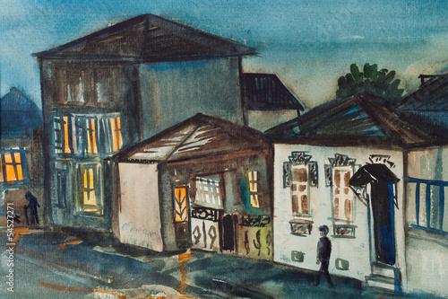 Foto auf AluDibond Gezeichnet Straßenkaffee Night Batumi