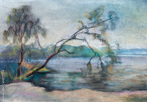 Nowoczesny obraz na płótnie Willows over the river