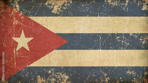 Photo  Cuban Aged Flat Flag