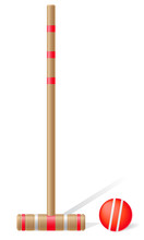 Croquet Mallet And Ball Vector...