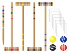 Set Equipment For Croquet Vect...