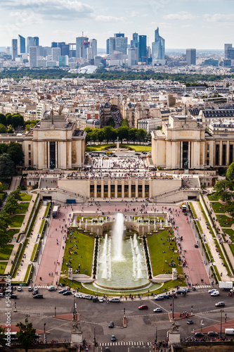 Deurstickers Amsterdam Aerial View on Trocadero and La Defense From the Eiffel Tower, P