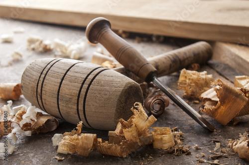 Fotografija joiner tools on wood table background