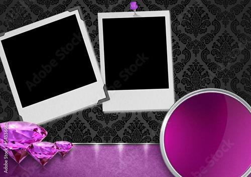Fotografie, Obraz  Luksusowe tło - diamenty i zdjęcia