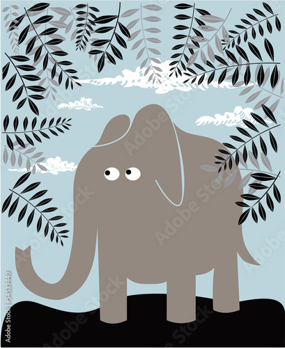Vector background with elephant and foliage
