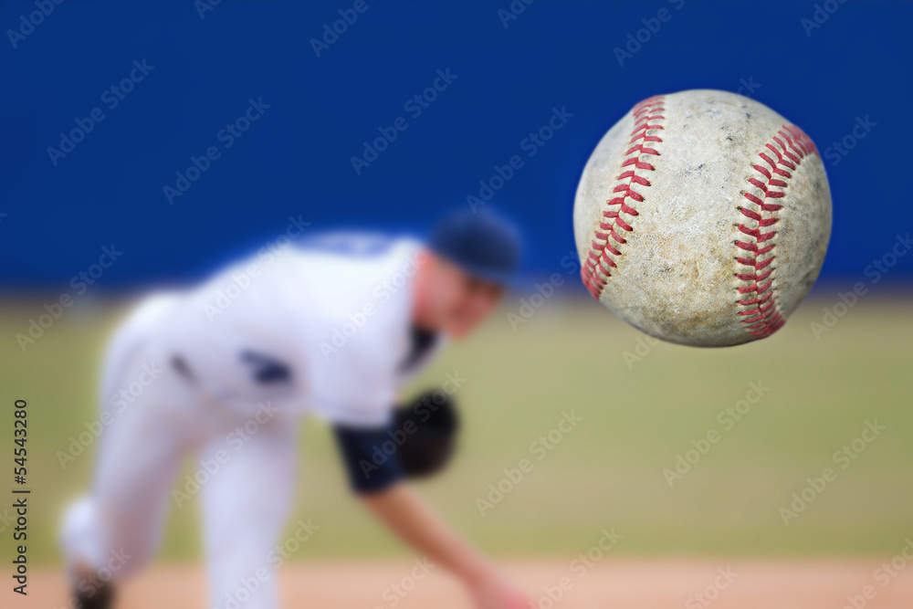 Fototapety, obrazy: Baseball Pitcher Throwing ball, selective focus
