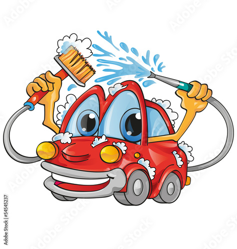 Keuken foto achterwand Cartoon cars car wash cartoon