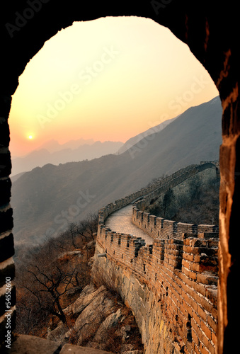 Spoed Foto op Canvas Grijze traf. Great Wall sunset