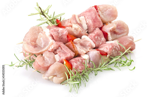 Keuken foto achterwand Vlees chicken skewers and rosemary close up on white