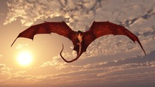 Red Dragon Attacking From A Su...