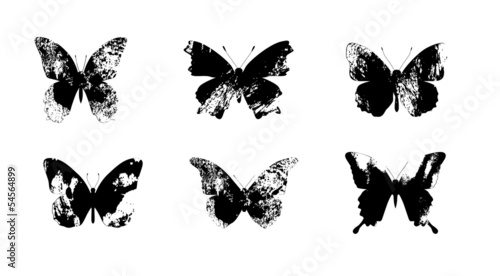 Foto op Canvas Vlinders in Grunge Butterflies