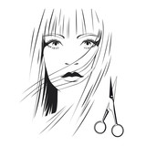 Blond girl with scissors in beauty salon b&w