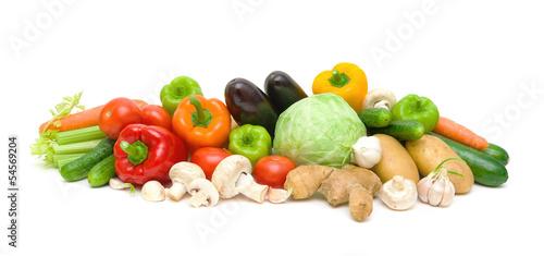 Printed kitchen splashbacks Fresh vegetables still life of vegetables and mushrooms on a white background