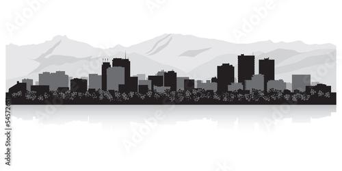 Anchorage city skyline silhouette Canvas Print