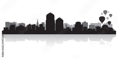 Albuquerque city skyline silhouette Canvas Print