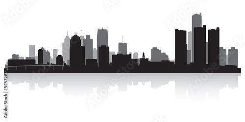 Poster  Detroit city skyline silhouette