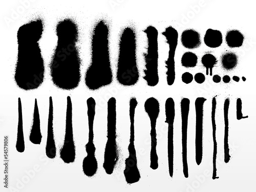 Photo  vector set of detailed grunge spray paint strokes and textures