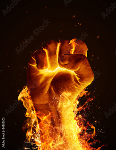 Door stickers Fire / Flame Fire fist