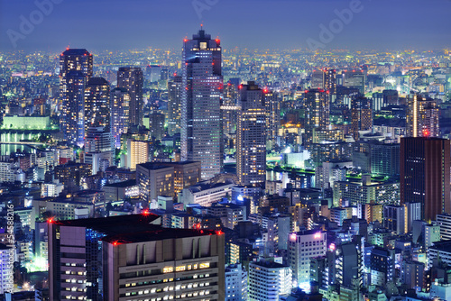 Fotografie, Obraz  Tsukiji, Tokyo Skyline