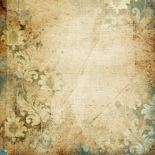 Foto op Canvas Retro grunge floral background with space for text or image