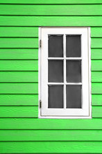 White Wood Window And Green Plank Wall