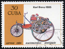 Stamp Printed In Cuba Shows A Vintage Car Carl Benz From 1885
