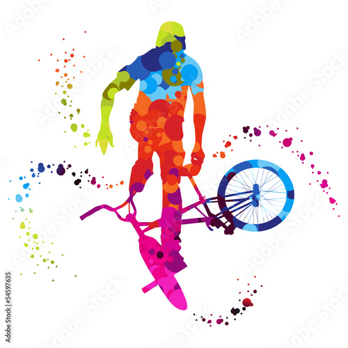 Canvas Print bmx with colored dots