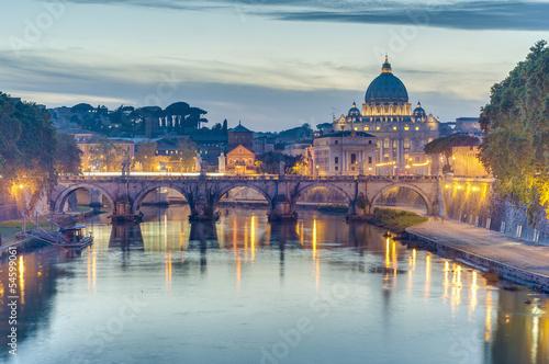 Photo sur Toile Rome Ponte Sant'Angelo (Bridge of Hadrian) in Rome, Italy,