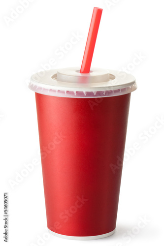 Red cardboard cup with a straw