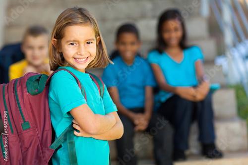 Obraz portrait of preschool girl with backpack - fototapety do salonu