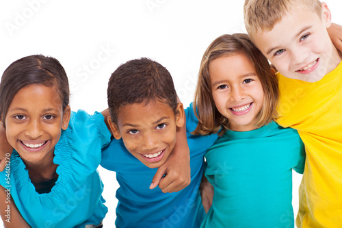 Photo  group of multiracial kids