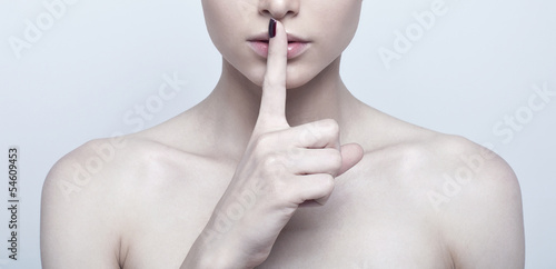 Fotografie, Obraz  Woman with finger on lips