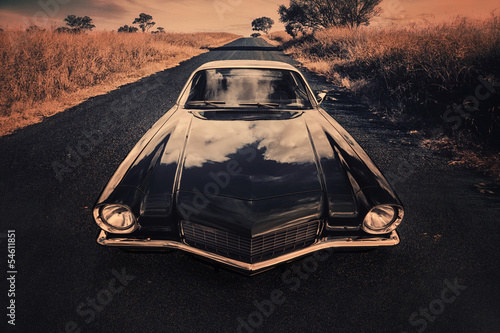 classic sports car on the countryside road © Mauro Rodrigues