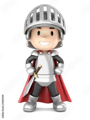 Printed kitchen splashbacks Knights 3d render of a cute knight boy standing proud