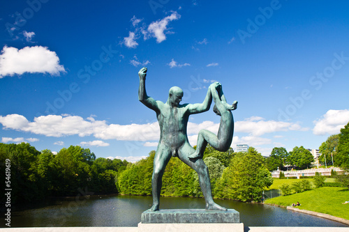 Sculptures in Vigeland park Oslo Norway Poster