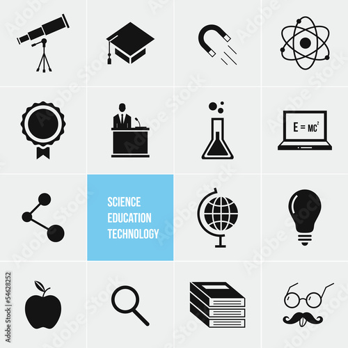 Science Education and Technology Vector Icons Set плакат