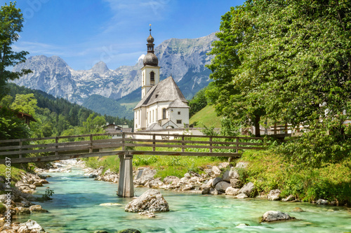 Canvas Prints Alps St. Sebastian Parish Church, Ramsau, Bavaria