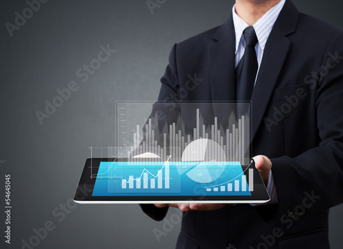 Holding Touch Screen Tablet With A Graph Buy This Stock