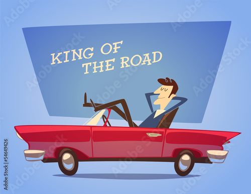 Papiers peints Cartoon voitures Car poster. Vector retro styled illustration.