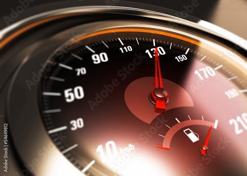 Láminas  détail d'un compteur de vitesse de voiture