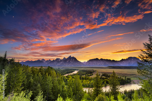 Summer Sunset at Snake River Overlook Poster