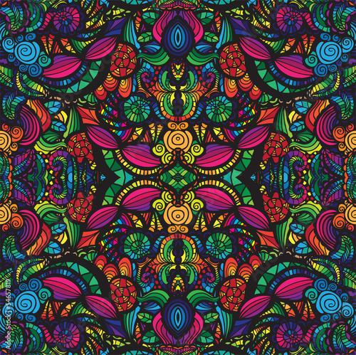 Poster Artificiel Hand drawn seamless pattern, seamless vector pattern